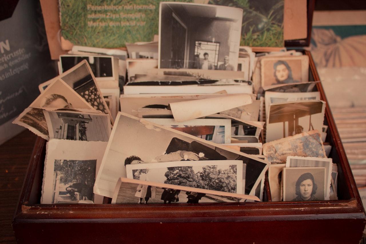 family photo history box of old photos