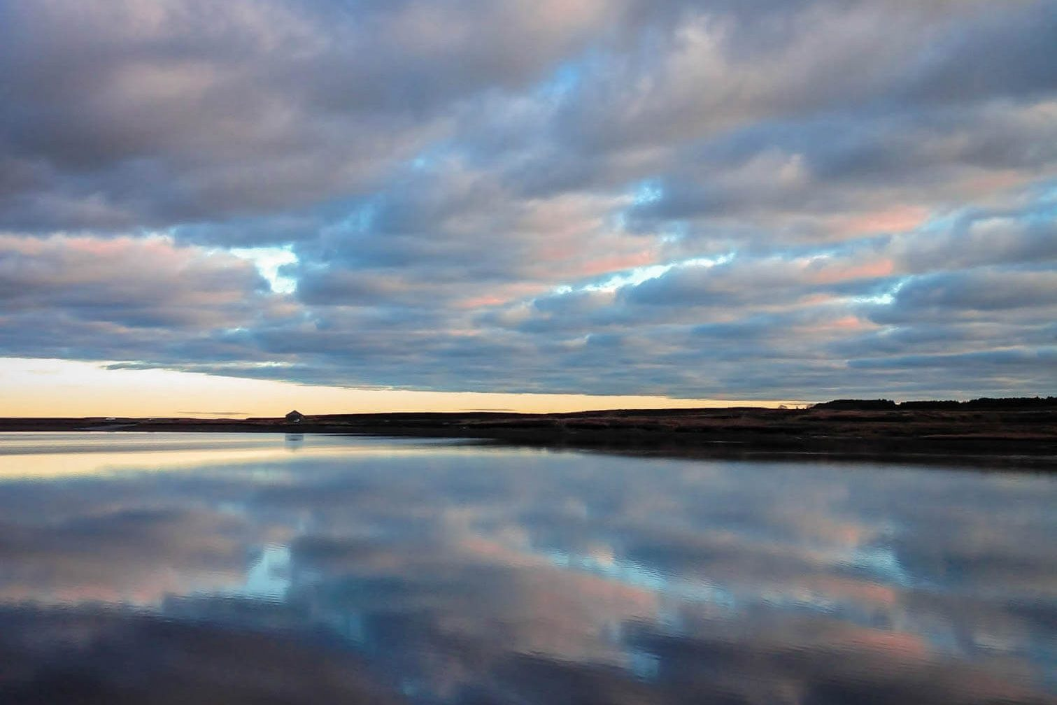 durham dales reservoir with sky reflected