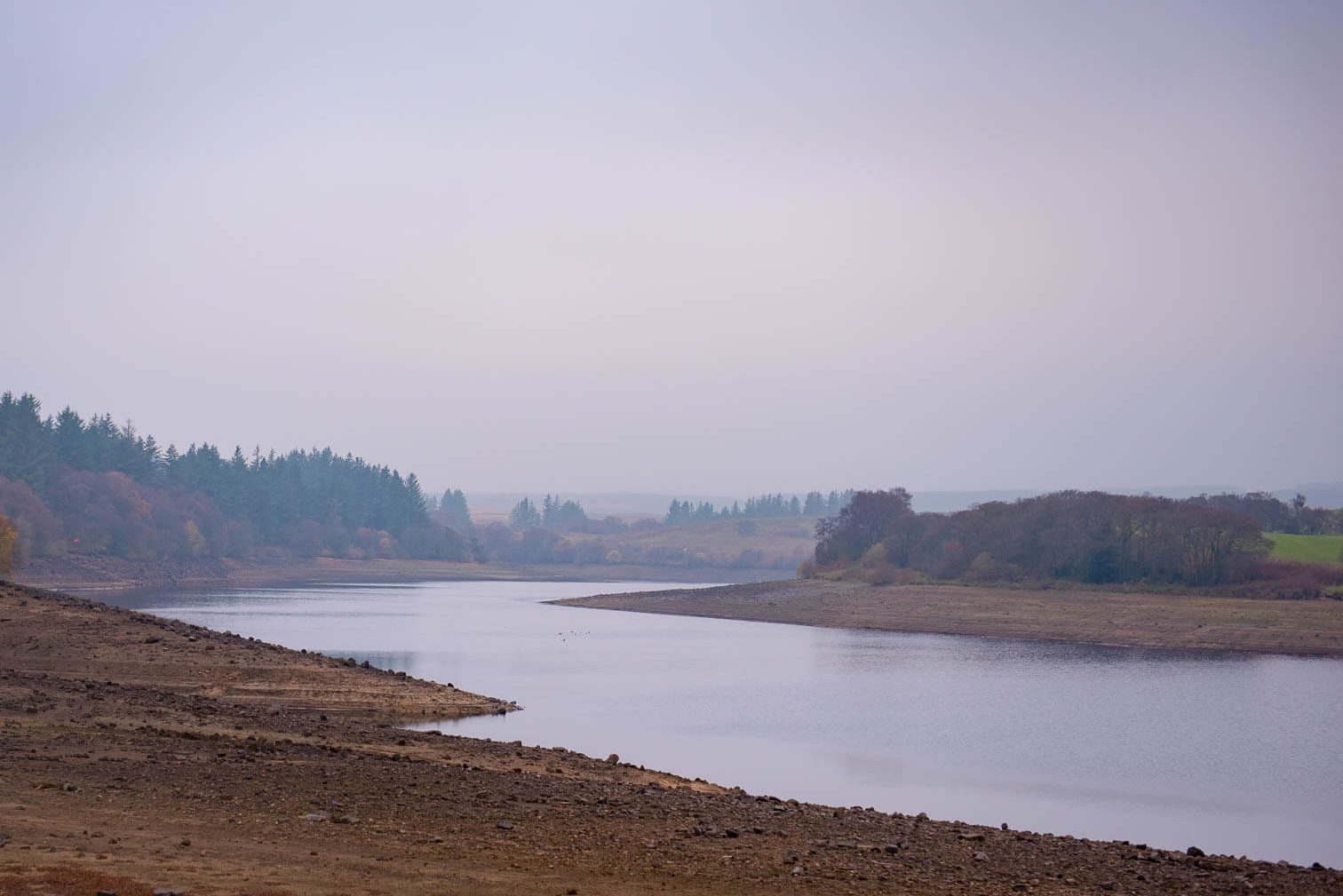 northumberland reservoir in the mist