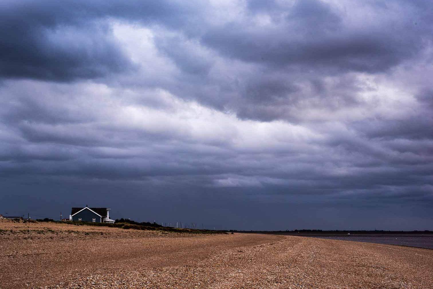 moody sky at north norfolk beach
