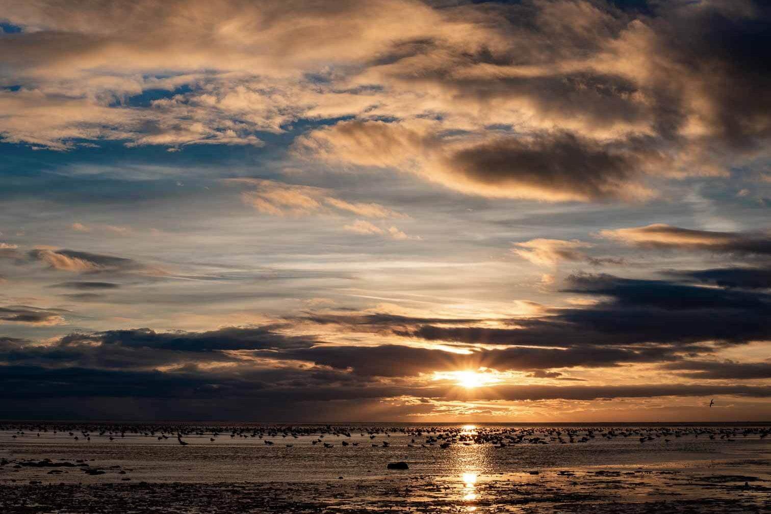 hunstanton norfolk sunset over sea